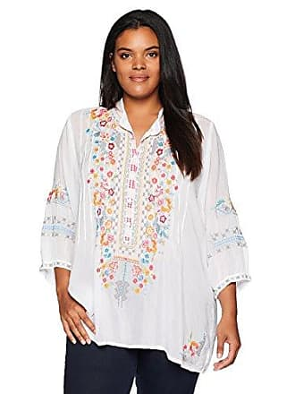 ccca809269000 Johnny Was Womens Plus Size Henley-Style Blouse with Multicolor Embroidery