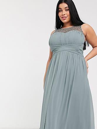 Little Mistress embellished top pleat maxi dress in grey
