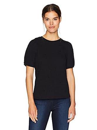 Kensie Womens Cotton Beaded Slub Top, Black, L