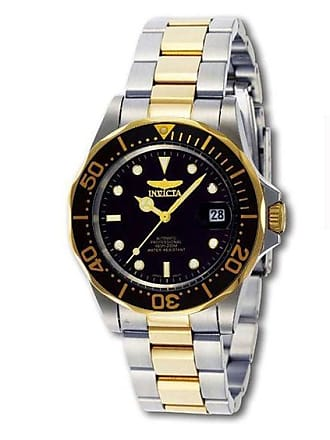 Zales Mens Invicta Pro Diver Automatic Two-Tone Watch with Black Dial (Model: 8927)