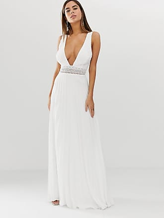 8a1da42b7a6 Asos sleeveless maxi dress with lace bodice and pleated skirt - White