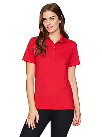 Hanes Womens Pique Polo, deep red, Small
