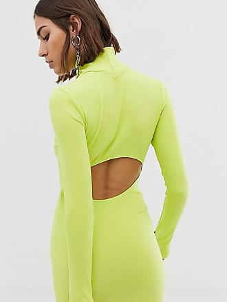 Collusion bodycon dress with open back - Green