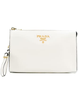 d138b1258ed1 Prada logo plaque clutch bag - White