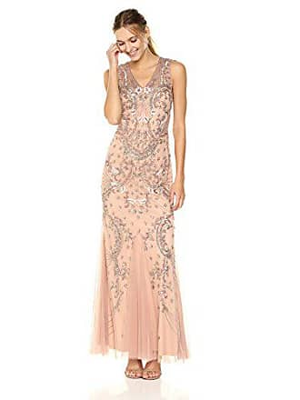 1f778d2378dc05 Adrianna Papell Womens Long Beaded V Neck Dress Gown, Rosegold, 14. In high  demand