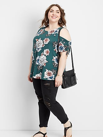 66472caa20391e Maurices Plus Size - 24 7 Floral Cold Shoulder Ruched Sleeve Tee