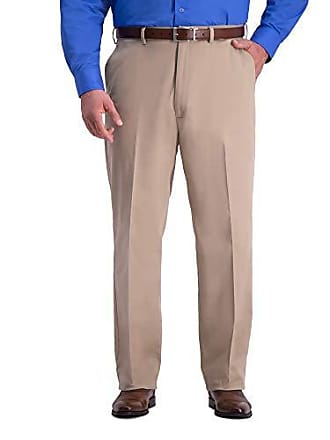 Haggar Mens Big and Tall B&T Work to Weekend PRO Relaxed Fit Flat Front Pant, Khaki, 44Wx34L