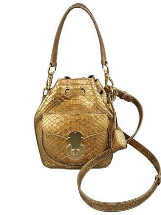 df64501587c4 Ralph Lauren Metallic Gold Snake Skin Leather Ricky Bucket Bag Handbag