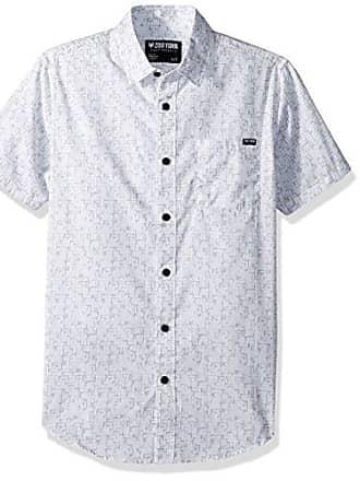 Zoo York Mens Short Sleeve Woven, Ancient Tetris White, X-Large