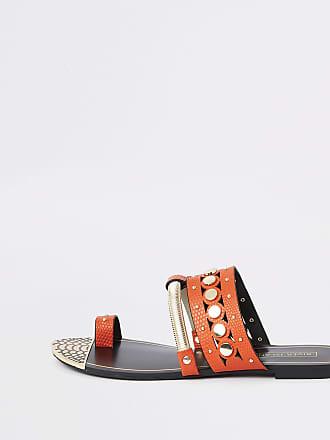 0b3cf563221 River Island Womens Orange trim toe ring sandals