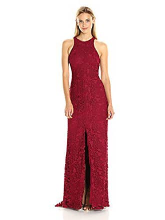 a55adeb8ba5 Vera Wang Womens Lace Halter Dress with Center Front Slit and Racer Back,  Deep Red