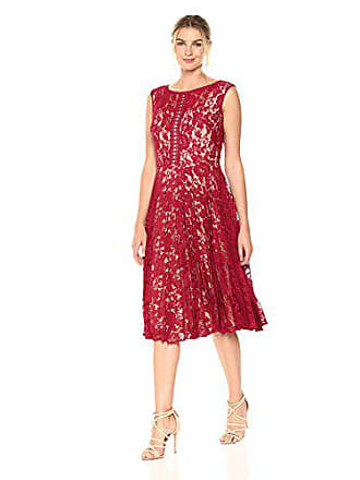 Julian Taylor Womens Lace Pleated Dress, Cranberry/Nude, 16