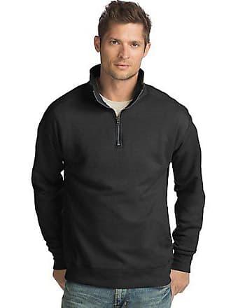 Hanes Mens Nano Premium Lightweight Quarter Zip Jacket Vintage Black 2XL