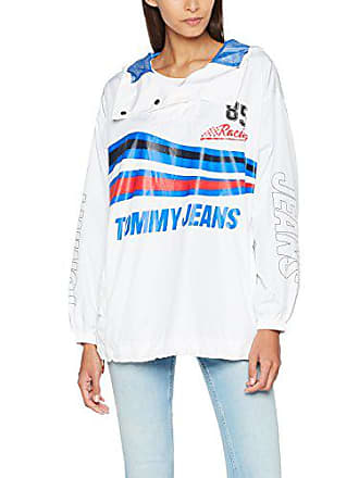 51d4b5ad8eb8 Tommy Jeans Damen Racing Popover Langarm Jacke Weiß (Bright White 113)  X-Large