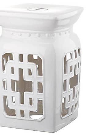 Safavieh Castle Gardens Collection Beijing Filigree Antique White Glazed Ceramic Garden Stool