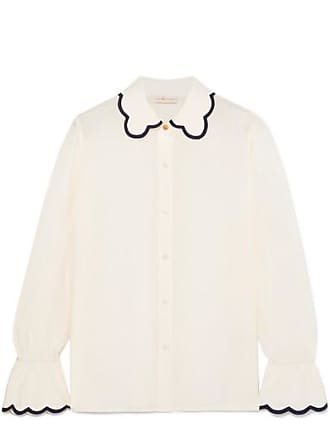 11fa0a902b Tory Burch Scalloped Silk Crepe De Chine Shirt - Ivory