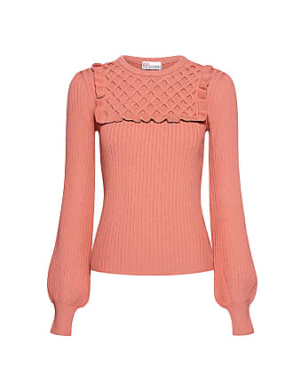 Red Valentino Waffle Knitted Panel Ruffled Sweater Rose