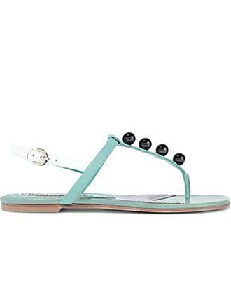 Emilio Pucci Emilio Pucci Woman Bead-embellished Leather Slingback Sandals Light Green Size 37.5