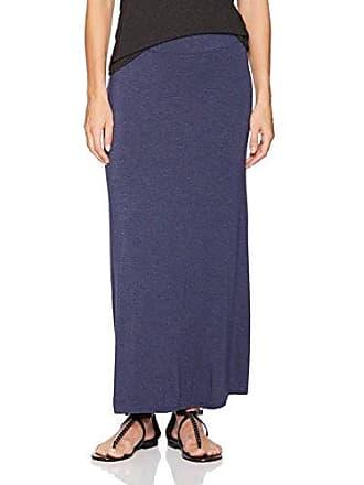 Kensie Womens Visoce Spandex Maxi Skirt, Heather Navy, M