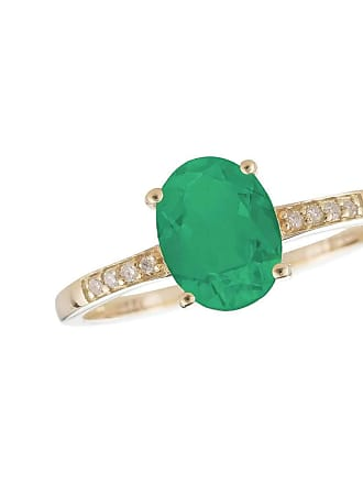Lali Jewels 14kt Yellow Gold Diamond And Emerald Ring - May Birthstone