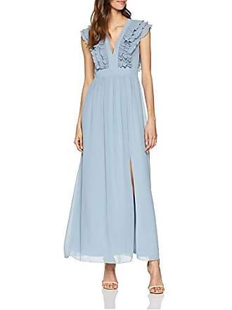 847d2a41364fc3 Little Mistress Damen Amina Blue Plunge Maxi Dress with Frill Kleid