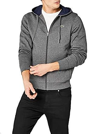 f0db426cf7 Lacoste SH7609 Sweat-Shirt, Gris (Bitume/Marine), Small (Taille