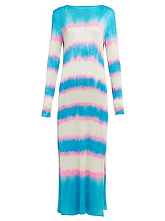 The Elder Statesman Raya Striped Knitted Silk Dress - Womens - Blue Multi
