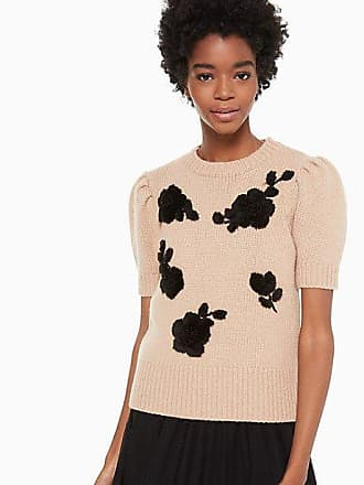 Kate Spade New York Floral Applique Sweater, Roasted Peanut - Size S