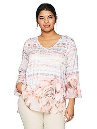 61f2931bc2d06 Oneworld Womens Plus-Size 3 4 Chiffon Hem Printed V-Neck Top