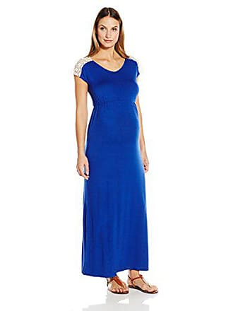 0705a021e7 Everly Grey Womens Maternity Abbey Cap Sleeve Lace Trimmed Maxi Dress,  Sapphire, Large