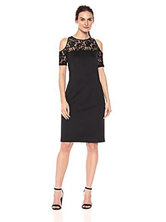 272a926ce19 S.L. Fashions Womens Floral Lace Sheer Yoke Cold Shoulder Sheath Dress