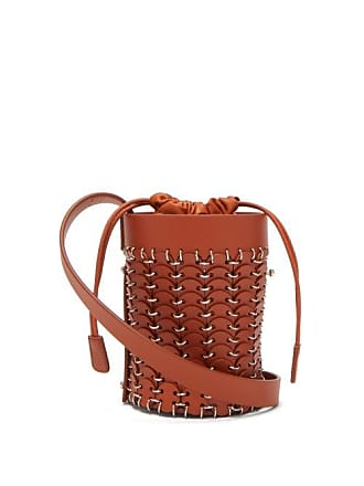 Paco Rabanne Mini Link Embellished Woven Leather Bucket Bag - Womens - Tan