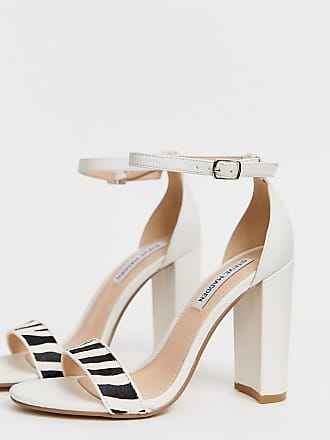 b84e396e34 Steve Madden Carrson white leather heeled sandals with zebra detail