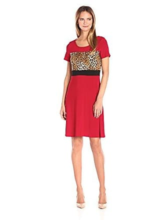 Star Vixen Womens Sleeve Ity Colorblock Short Skater Dress with Siimming Waist Inset, Red/Black/Leopard, Medium