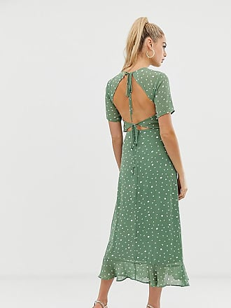 Fashion Union Tall open back midi dress in spot - Green