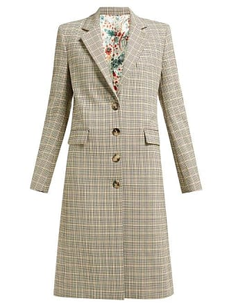 Paco Rabanne Checked Single Breasted Wool Blend Coat - Womens - Brown Multi