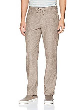 Perry Ellis Mens Linen Cotton Drawstring Pant, Chinchilla, 30X32