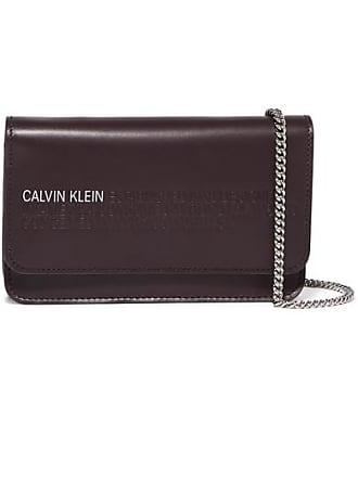 CALVIN KLEIN 205W39NYC Mini Embossed Leather Shoulder Bag - Burgundy