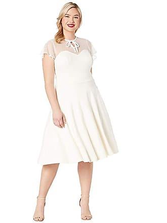 Unique Vintage Plus Size 1940s Style Swiss Dotted Mesh Heather Midi Dress (Ivory) Womens Dress