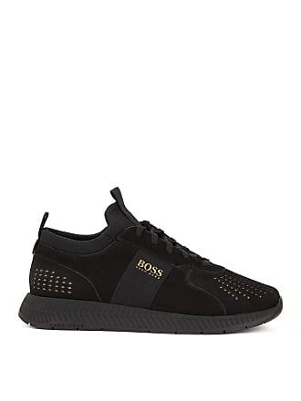 BOSS Hugo Boss Running-inspired sneakers in perforated nubuck leather 13 Black