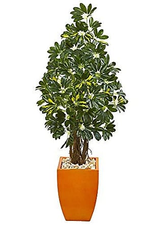 Nearly Natural 9328 59-in. Schefflera Artificial Orange Planter Silk Trees, Green