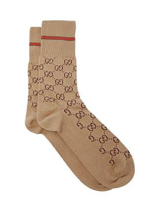 775a06f1686c4 Gucci Gg Supreme Intarsia Cotton Blend Socks - Mens - Beige
