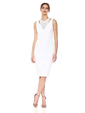 Calvin Klein Womens Sleeveless Lace Sheath with Shoulder Cut Out Dress, White, 8
