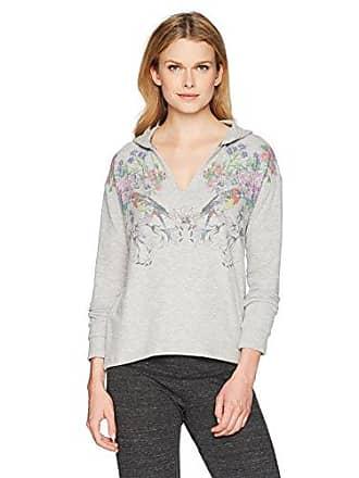 PJ Salvage Womens Floral Bird Pullover Hoodie, Grey, L