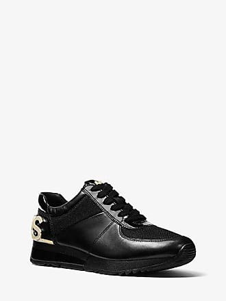 Michael Kors Allie Embellished Leather And Canvas Trainer