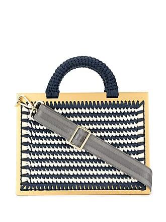 0711 Striped XL St. Barts tote - Blue