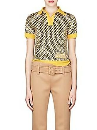 ea4edb8f21d9 Prada Womens Geometric-Pattern Wool Polo Shirt - Yellow Size 36 IT