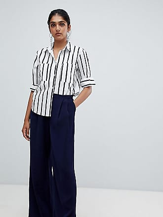 Y.A.S. Tall Textured Wide Leg Trouser-Navy