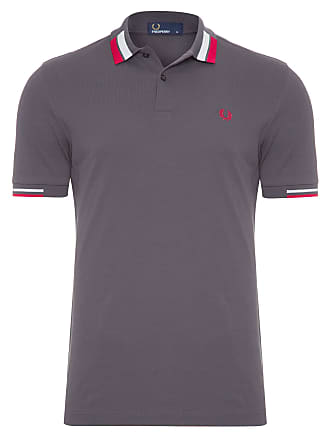 Fred Perry POLO MASCULINA TIPPED BOLD PIQUET - CINZA f147eb57f514b