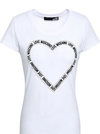 Love Moschino Love Moschino Woman Crystal-embellished Stretch-cotton Jersey T-shirt White Size 46